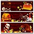 raccolta di banner di halloween con posto per testo — Vettoriale Stock