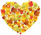 Podzimní listí v rámečku srdce — Stock vektor