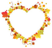 Autumn leaves in the heart frame — Stock Vector