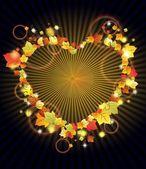 Kalpli çerçeve üzerinde karanlık sonbahar yaprakları — Stok Vektör