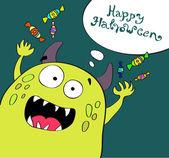 şirin halloween canavar — Stok Vektör