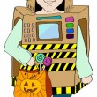 Stock Vector: Halloween background with little Kid in robot costume