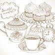 Vintage tea background, set for breakfast — Stock Vector