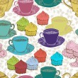 Vintage tea background. seamless pattern — Stock Vector