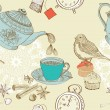 Vintage morning tea background - Stok Vektör