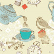 Vintage morning tea background - Image vectorielle