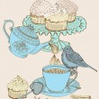 Vintage morning tea background — Vector de stock #13633636