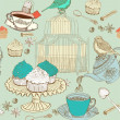 Vintage tea background - Stock Vector