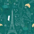 Seamless background with different Paris doodle elements - Stock Vector