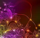 Doodle fondo floral de color brillante con aves — Vector de stock