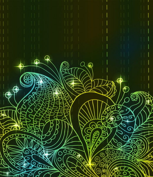 Doodle green bright color floral background — Stock Vector #13685651