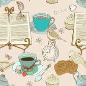 Fondo de té vintage mañana, patrones sin fisuras para el diseño — Vector de stock