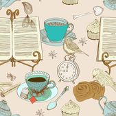 Vintage morning tea background, seamless pattern for design — Vector de stock