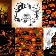 Stock Vector: Set of Halloween Cards