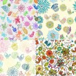Set of Seamless Backgrounds with funny birds and flowers - Imagen vectorial