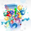 Open explore gift box for New Year — Imagen vectorial