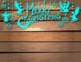 веселая рождественская открытка с ангелами и игрушки — Cтоковый вектор