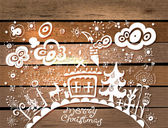 Fondo de navidad dibujados a mano — Vector de stock