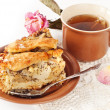 Apple and pear pie with a cup of tea - Stok fotoğraf
