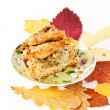 Apple and pear pie with autumn leaves - Stock Photo