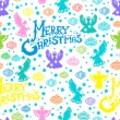 Merry Christmas  seamless pattern with Angels and toys - Stock Vector