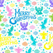 Merry Christmas seamless pattern with Angels and toys — Stock Vector