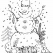 Christmas card for xmas design hand drawn snowman - Stock Vector