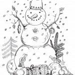 Kerstkaart voor xmas design hand getrokken sneeuwpop — Stockvector  #14153078