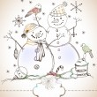 Christmas card for xmas design with hand drawn snowmen — Stock Vector
