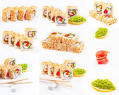 Sushi roll set with sesame, sweet pepper, cucumber and wasabi — Stock Photo
