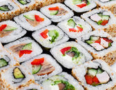 Sushi roll big set with different components — Stock Photo