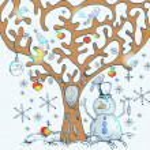 Cartoon tree with birds — Stock Vector