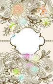 ロマンチックな手描きのラベルと花の背景 — ストックベクタ