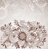 ロマンチックな手描き花の背景 — ストックベクタ