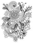 ロマンチックな手描き花飾り — ストックベクタ
