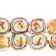 Stock Photo: Hot sushi roll in flat cake