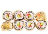 Hot sushi roll in flat cake — Stock Photo