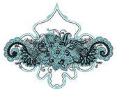 手描きのラベルを持つ花の背景 — ストックベクタ
