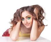 žena modelka s krásou světlý make-up — Stock fotografie