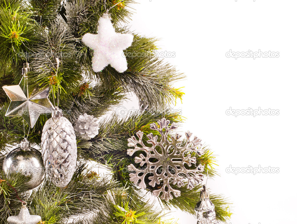 New year card with decorations and fur-tree — Stock Photo #15338873