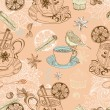 Royalty-Free Stock Vector Image: Seamless doodle background with mulled warm wine