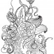 Romantic black and white hand drawn floral ornament — Stockvektor