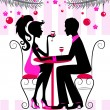 Silhouette of the couple, romantic New Year dinner - Stock Vector