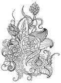 Romantické černé a bílé ruky nakreslené květinový ornament — Stock vektor