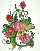 Main romantique dessiné cage et oiseau wirh carte floral — Vecteur