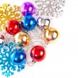 Foto Stock: New year background with colorful decoration balls