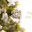 New year card with beautiful decorations - Stok fotoğraf