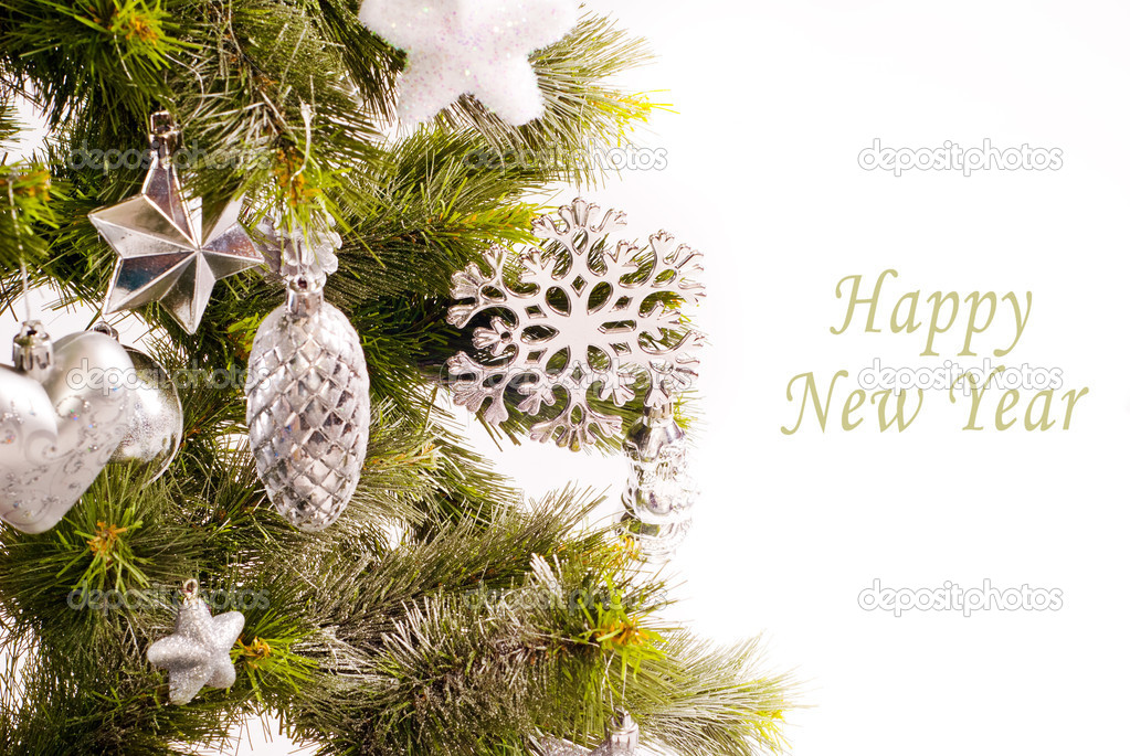 New year card with beautiful decorations on fur tree and place for text — Stock Photo #15529843