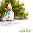 New year card with beautiful snowman — Stock Photo