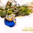 New year card with beautiful decoration ball — ストック写真